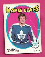 1971-72 OPC # 193 LEAFS DARRYL SITTLER 2ND YEAR CREASED CARD (INV# D2244)