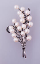 Vintage sterling silver and cultured pearl floral traditional brooch pin