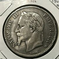 1868-BB FRANCE SILVER 5 FRANCS NAPOLEON CROWN COIN