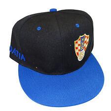 CROATIA BLACK BLUE HNS LOGO FIFA SOCCER WORLD CUP HIP HOP HAT CAP ..  NEW