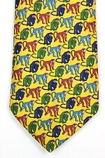 John Comfort Mens Silk Neck Tie Yellow with Colored Monkeys Made in England