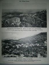 gravure France Village Corse Bastelica et San Nicolao de Moriani