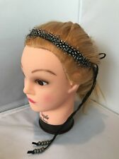 NEW Free People Feather Tie Headband Wrap Beads Crown Hair Festival String