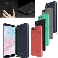 For Huawei  Y6 2018 New Black Carbon Fibre Gel Phone Case Cover + Screen Guard