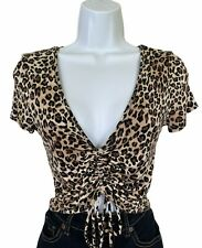 Animal Print Cheetah or Leopard Crop Top Scruchy by Ambience Size M