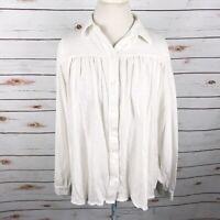 Sundance White Knit Blouse Button Up Pleat Front Swing Cut Cotton Top Size M