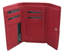 Saddler Leather TriFold Purse Wallet 11 CC Holder Post Box Red
