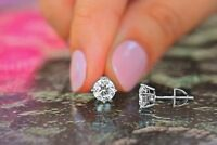 Real 0.50 Ct Round Cut Diamond Earrings Studs 14K Solid White Gold H I VS1