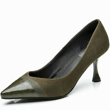 Women Fashion Genuine Leather High Heels Pointed Toe Slip on Pumps Shoes 34-42