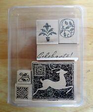 2005 Stampin Up REINDEER PRINT 6pc RUBBER INK STAMP SET Christmas Large Block