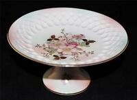 Hand Painted Footed Pedestal Compote Schumann Arzberg, Pink Flowers Embossed