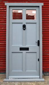 Hardwood 6 Panel Front Door with Frame Top Glazed Panels Made to measure Bespoke