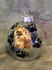 "Hand Made Pomeranian Dog 3"" Glass Christmas Ornament/Ball"