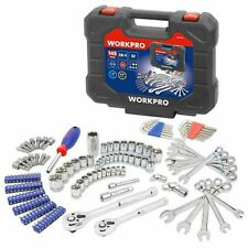 Workpro 145 Piece Mechanic Tool Kit 1/4-inch and 3/8-inch Drive Sockets Set