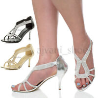 WOMENS LADIES HIGH HEEL DIAMANTE WEDDING EVENING BRIDAL PROM SANDALS SHOES SIZE