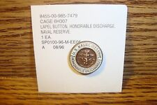 #1 one U.S.Navy-Naval Reserve Honorable Discharge Lapel Button Pin Copper Tone