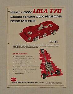 RARE! 1960`S L.M. COX 1/24 LOLA T-70 SLOT CAR & NASCAR MOTOR HOBBY DEALER FLYER!