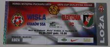 Ticket for collector EC Wisla Krakow Glentoran Belfast 2002 Poland North Ireland