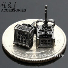 MEN WOMEN 925 STERLING SILVER SQUARE 6MM ICED 3D SOLID BLACK STUD EARRING*BE123
