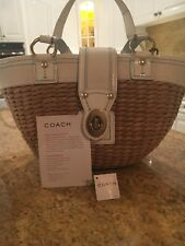 Coach Natural straw basket handbag purse white multi original pre owned 1 owner