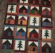Set of 20 Quilt Blocks Already Pieced Scrappy Framed Houses and Trees 8.25 inch