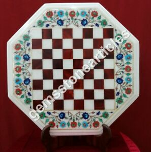 "18"" Marble White Top Chess Table Handmade Collectible Black Friday Gift Décor"