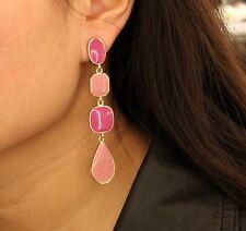 Boucles d'Oreilles Clips Longue Rose Goutte  Email Soirée Mariage Cadeau B5