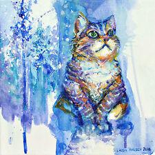 "'Winter Cat' -12x12"" art print on 80lb paper - #4 in series of 4 seasonal cats"