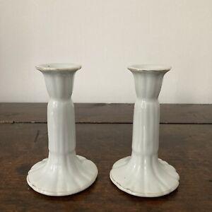 Pair Of White Ceramic Candlesticks With Gold Rim Christmas Wedding Christening