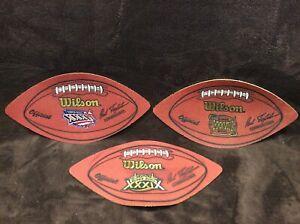 New England Patriots SUPER BOWL WILSON LEATHER FOOTBALL DISPLAY Lot Tom Brady