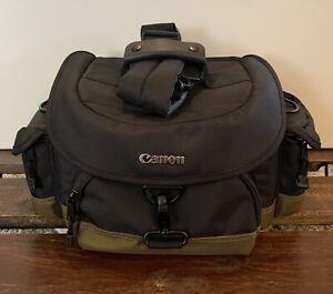 Large Canon 1EG Camera Gadget Bag. Black And Green W/ Detachable Shoulder Strap.