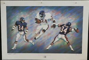 Walter Payton Chicago Bears Signed LE Hall of Fame Lithograph JSA Authenticated