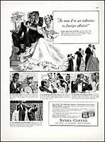 1939 Sanka coffee foreign ambassador society dinner vintage art print ad L76