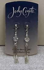 JODY COYOTE Sterling Silver clear crystal chain EARRINGS Pierced posts NEW