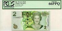 FIJI 2 DOLLARS ND 2011 RESERVE BANK PMG GEM UNC PICK 109 a  VALUE $66