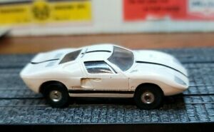 Aurora HO Tjet Original #1374 FORD GT in WHITE/black with chassis