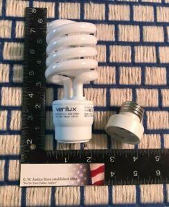 26w Verilux Natural Spectrum light bulb GU24 free E26 adapter CFS26GU24VLX &13w
