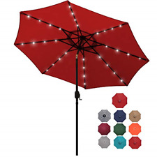 Blissun 9 ft Solar Umbrella 32 LED Lighted Patio Umbrella Table Market Umbrella