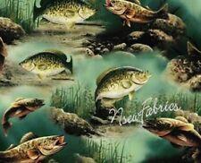 FISH Fishing Bass Trout COTTON Fabric - Hautman - DIY Craft -  BTY