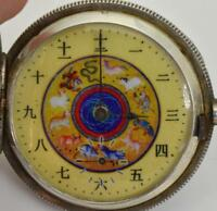 MUSEUM Qing Dynasty Chinese silver pocket watch by J.Pardoux. Zodiac enamel dial