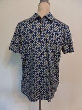 Mens Hugo Boss FAB! Blue/Gray/Black Geometric Button Down Knit Shirt   M