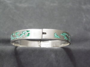 """Taxco~TB-55~925 Mexico Sterling Silver 10 mm 7"""" Turquoise Inlay Hinged Bracelet"""