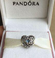 Authentic Pandora March Signature Heart Charm #791784NAB Aqua Blue Crystals