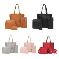 4pcs/set Litchi Leather Tassel Women Tote Shoulder Handbag Clutch Card Bags Lady