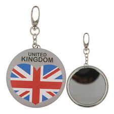 UK Flag Printing Beauty Makeup Mirror Keyring Protable Compact Mirrors Keychain