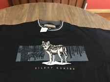 Silent Hunter Wild Wolves Embroidered Graphic Medium Black Sweatshirt