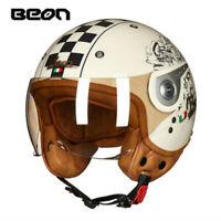 2019 BEON Motorcycle Retro Helmet Chopper 3/4 Open Face Vintage MOTO ECE Helmets