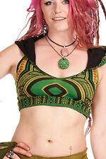 Dashiki Crop Top African Angelina Print Tribal Pixie Rave Goa Psy Trance Bikini Green Small (uk 6-10)