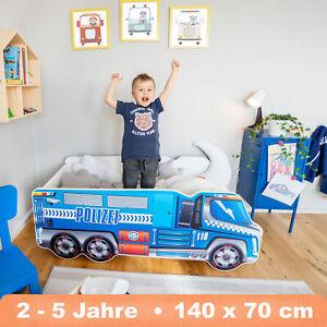 Autobett LKW Polizei 70x140 Renn Spiel Kinderbett mit Matratze und Lattenrost