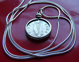 """Year 2000 Irish Lucky Coin Pendant on a 28"""" Sterling Silver Snake Chain."""